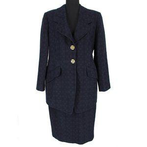 Louis Féraud Navy Spotted 2 Piece Skirt Suit sz 42